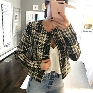 Gestuz black white studded crop jacket small or 34